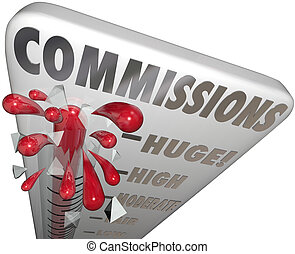Commissions Word Thermometer Measure Money Earned Sales