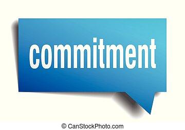 commitment blue 3d speech bubble - commitment blue 3d square...