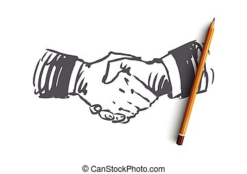 Commitment, hand, deal, business, partnership concept. Hand drawn hand shaking concept sketch. Isolated vector illustration.