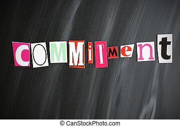 """""""commitment"""", lettere, su, lavagna"""