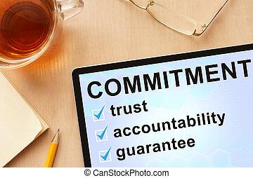 commitment., mot, tablette