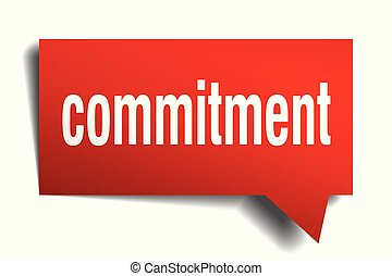 commitment red 3d speech bubble - commitment red 3d square...