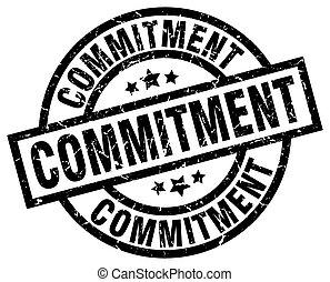 commitment round grunge black stamp
