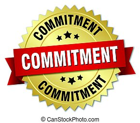 commitment round isolated gold badge