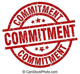 commitment round red grunge stamp