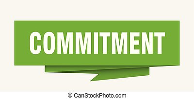 commitment sign. commitment paper origami speech bubble....