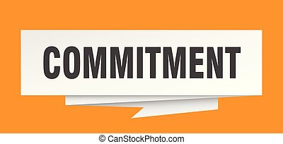 commitment sign. commitment paper origami speech bubble. ...