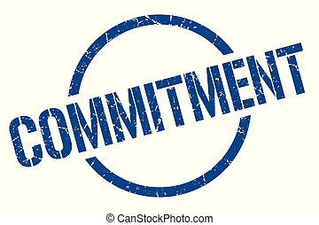 commitment stamp - commitment blue round stamp
