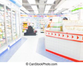 commodité, brouillé, bokeh, fond, intérieur, thaïlande, magasin