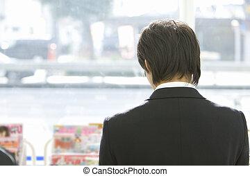 commodité, homme, magasin, brouter