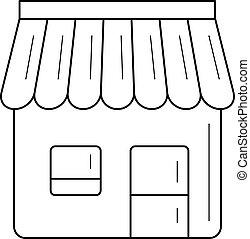 commodité, ligne, icon., magasin