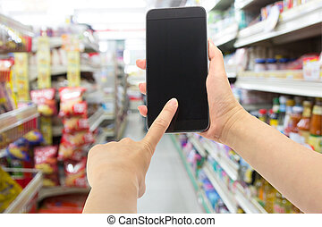 commodité, smartphone, magasin, tenant main