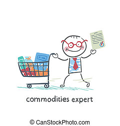 commodities expert with the document stands near the trolley