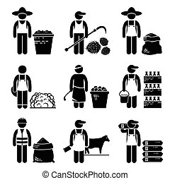 A set of human pictogram representing commodities of food, agricultural, grains and meat. They are soybean, palm oil, wheat, corn, cotton, rubber, milk, coffee, cattle, and sugar.