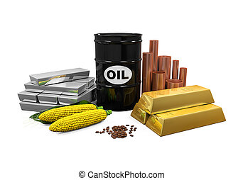 Commodities - Oil, Gold, Silver, Copper, Corn and Coffee Beans isolated on white background. 3D render