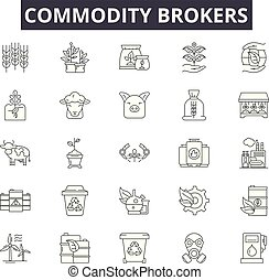 Commodity brokers line icons, signs, vector set, linear concept, outline illustration