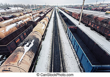 Commodity cars on rails. The top view