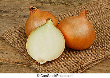 fresh onions a common vegetable in a traditional rustic setting