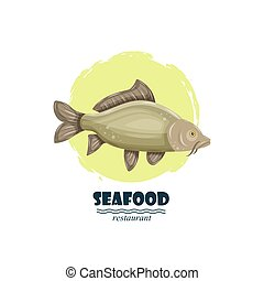 Common carp seafood restaurant label with splash and text isolated on white background. Sea water animal icon. Design element for emblem, menu, logo, sign, brand mark