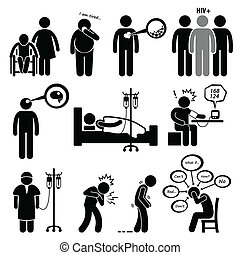 A set of human pictograms representing common disease for human such as Alzheimer, diabetes, high cholesterol, hiv, brain tumor, paralysis, high blood pressure, cancer, heart attack, parkinson, and anxiety.