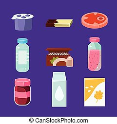 Common Goods and Everyday Products in Flat Style. Vector...