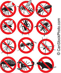 common household pest icon - warning sign, pest control,...