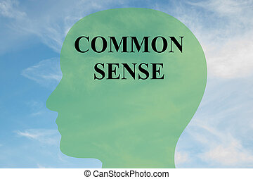 Render illustration of 'COMMON SENSE' script on head silhouette, with cloudy sky as a background.
