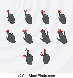 Common smartphone gestures set.