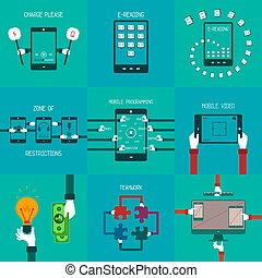 Common vector business concepts set in flat style