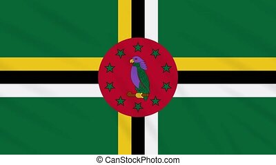 Commonwealth of Dominica flag waving cloth, ideal for background, loop