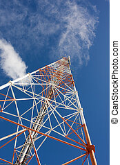 comms mast - red and white latticed communications mast with...