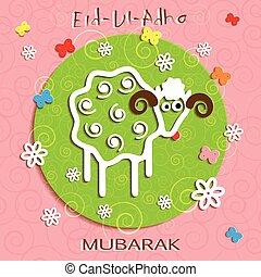 communauté, card., sacrifice, musulman, ul, salutation, adha, festival, eid
