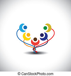 communauté, gosses, heureux, aussi, amusement, -, graphique, gens, espiègle, avoir, membres, vecteur, gai, graphic., représente, fleurs, école, arbre, enfants, famille, étudiants, concept, ceci