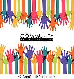 communauté, graphique, gens