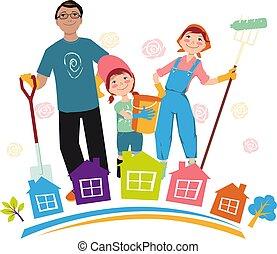 communauté, nettoyer, équipage
