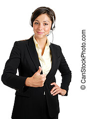 Communcations business woman giving thumbs up