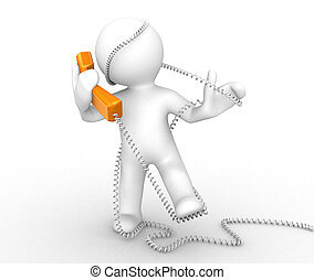 3d abstract person with a phone cable around