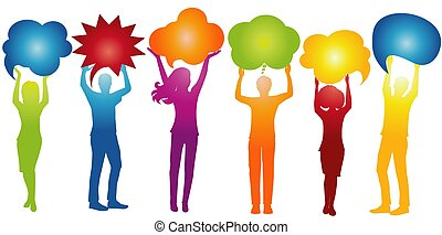 Communicate between a group of multiethnic and multicultural people who speak and share ideas. Social network communication. Speak. Inform. Dialogue diversity people. Speech bubble