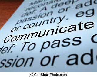 Communicate Definition Closeup Showing Dialog