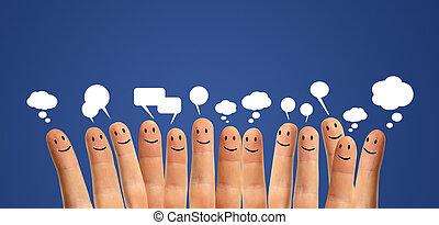 communicate finger smileys - Happy group of finger smileys...