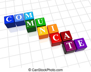 communicate in colour - 3d colour boxes with text -...