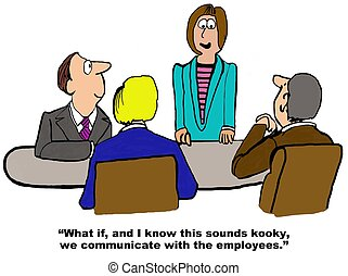 Communicate With Employees - Business cartoon about the...