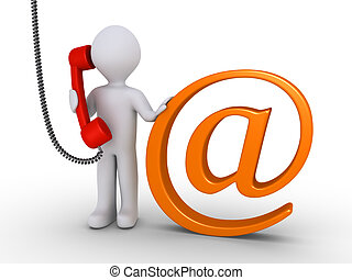 Communicate with us by e-mail or telephone - Person is...