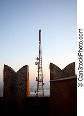 communicatie, antenne, op, kasteel