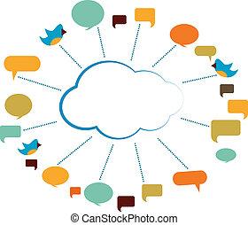 communicatie, bellen, toespraak, wolk