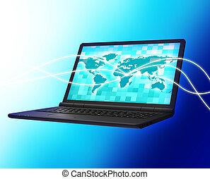 communicatie, computer, vertegenwoordigt, draagbaar, netwerk, en, monitor