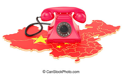 communicatie, diensten, in, china, 3d, vertolking