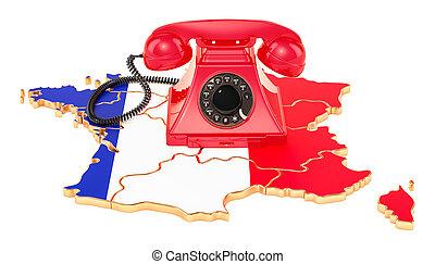 communicatie, diensten, in, frankrijk, 3d, vertolking