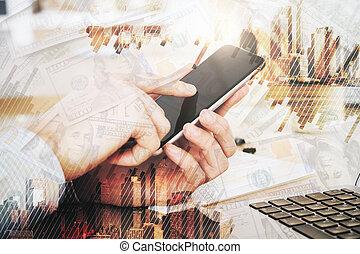 communicatie, en, de financiële groei, concept