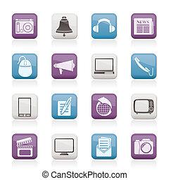 communicatie, en, media, iconen